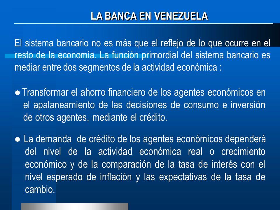 El sistema bancario no es más que el reflejo de lo que ocurre en el resto de la economía. La función primordial del sistema bancario es mediar entre d