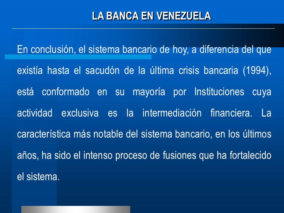 En conclusión, el sistema bancario de hoy, a diferencia del que existía hasta el sacudón de la última crisis bancaria (1994), está conformado en su ma