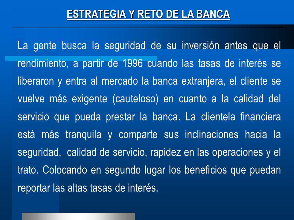 ESTRATEGIA Y RETO DE LA BANCA La gente busca la seguridad de su inversión antes que el rendimiento, a partir de 1996 cuando las tasas de interés se li