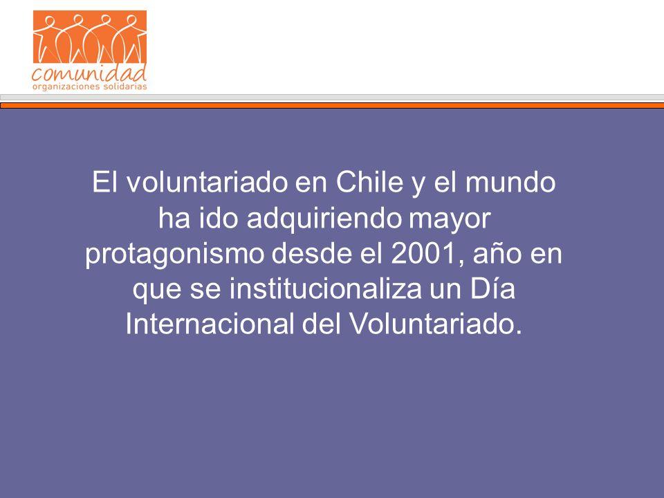 El voluntariado en Chile y el mundo ha ido adquiriendo mayor protagonismo desde el 2001, año en que se institucionaliza un Día Internacional del Voluntariado.