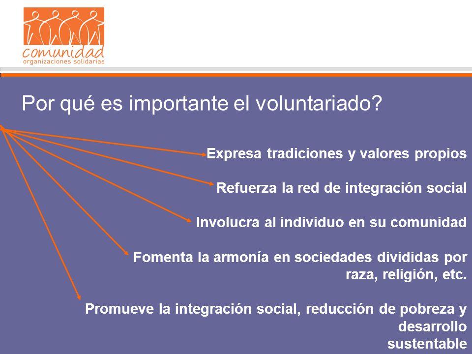 Expresa tradiciones y valores propios Refuerza la red de integración social Involucra al individuo en su comunidad Fomenta la armonía en sociedades divididas por raza, religión, etc.