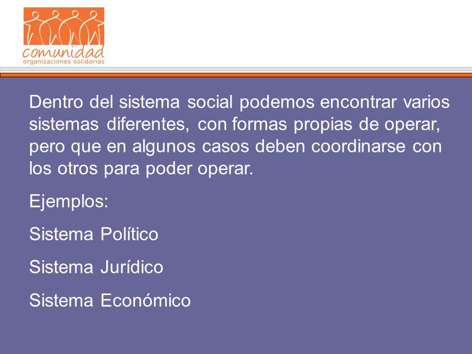 Dentro del sistema social podemos encontrar varios sistemas diferentes, con formas propias de operar, pero que en algunos casos deben coordinarse con los otros para poder operar.