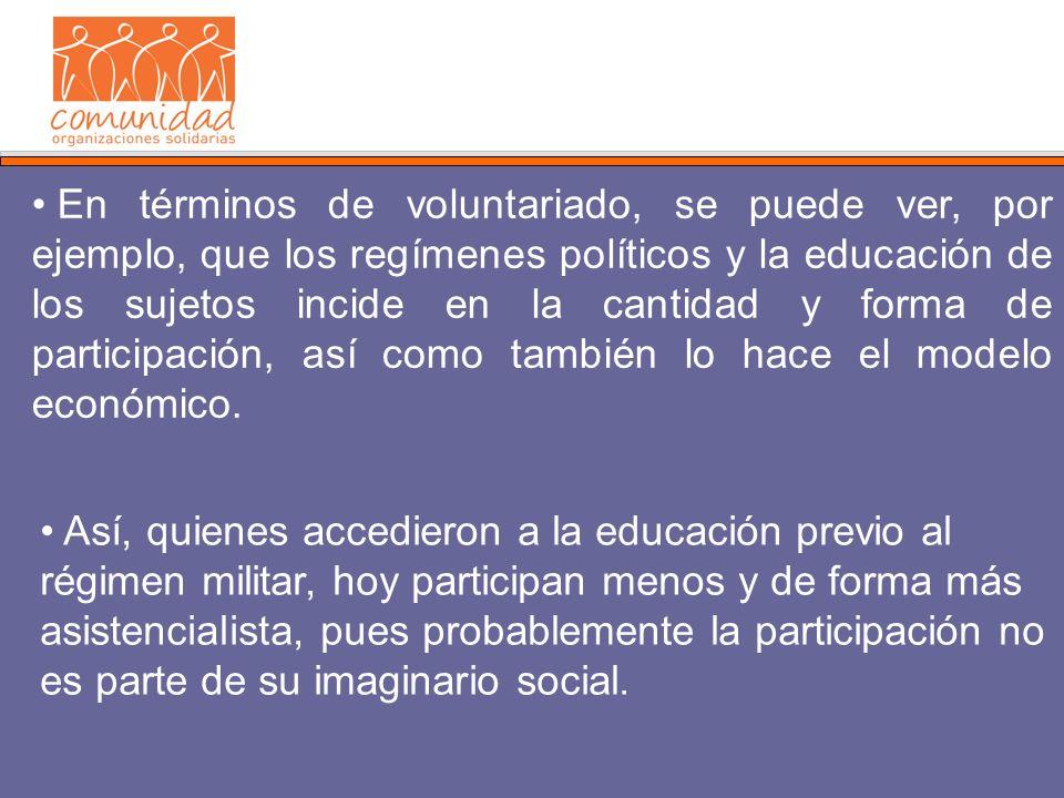 En términos de voluntariado, se puede ver, por ejemplo, que los regímenes políticos y la educación de los sujetos incide en la cantidad y forma de participación, así como también lo hace el modelo económico.