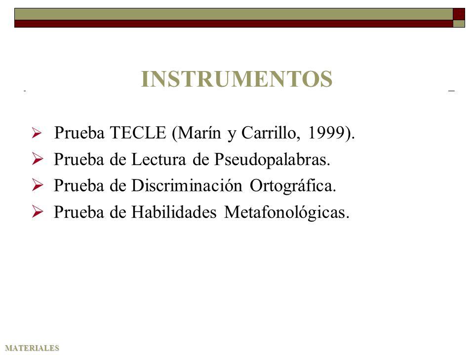 MATERIALES INSTRUMENTOS Prueba TECLE (Marín y Carrillo, 1999). Prueba de Lectura de Pseudopalabras. Prueba de Discriminación Ortográfica. Prueba de Ha