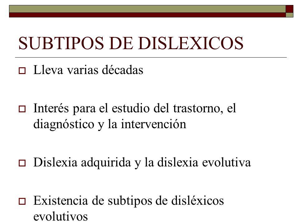 SUBTIPOS DE DISLEXICOS Lleva varias décadas Interés para el estudio del trastorno, el diagnóstico y la intervención Dislexia adquirida y la dislexia e