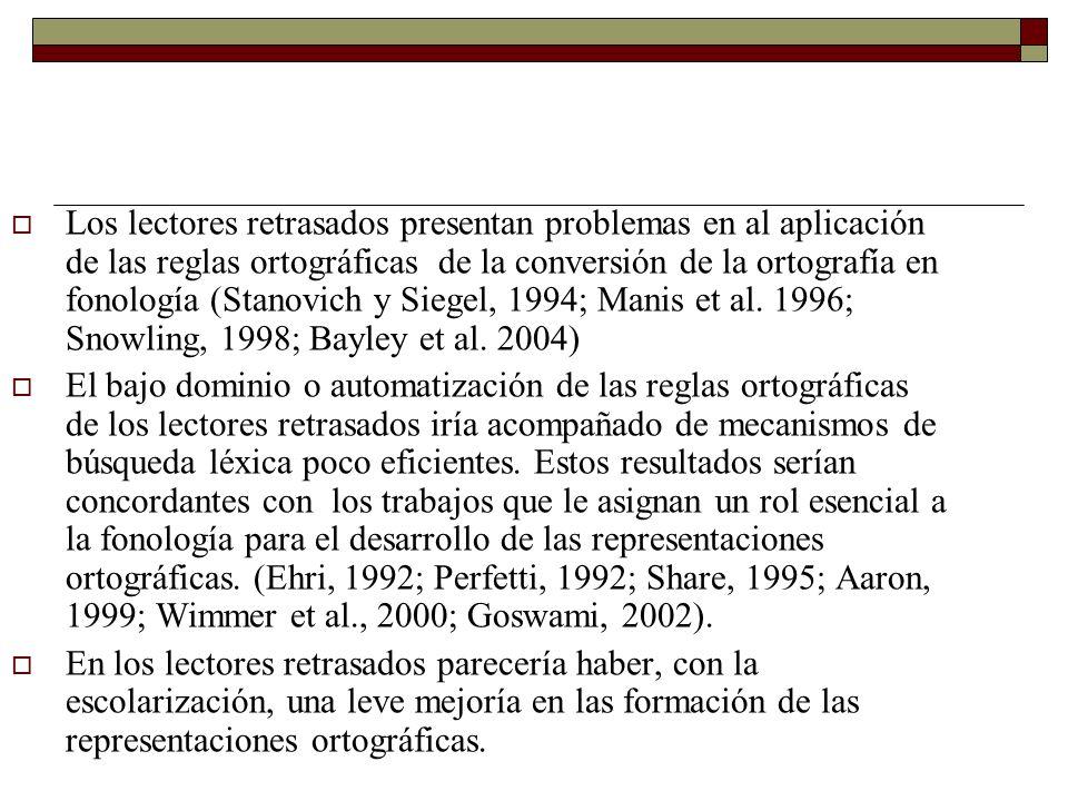 Los lectores retrasados presentan problemas en al aplicación de las reglas ortográficas de la conversión de la ortografía en fonología (Stanovich y Si