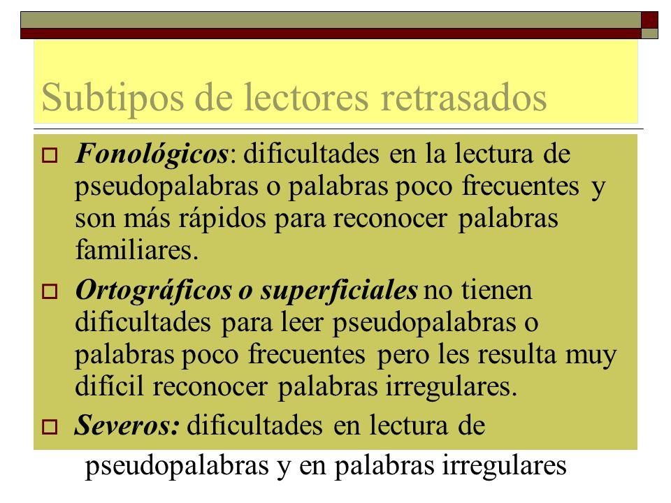 Subtipos de lectores retrasados Fonológicos: dificultades en la lectura de pseudopalabras o palabras poco frecuentes y son más rápidos para reconocer