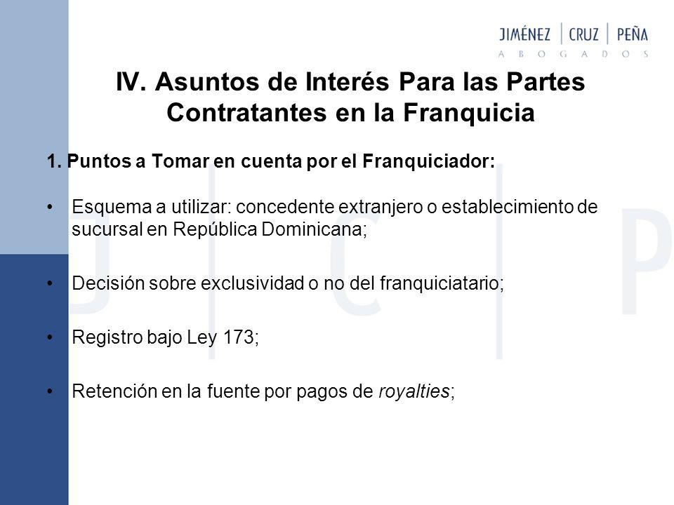 IV.Asuntos de Interés Para las Partes Contratantes en la Franquicia 1.