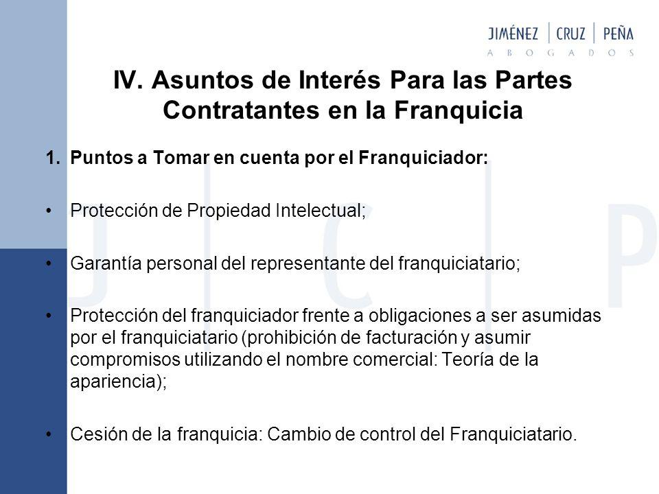 IV. Asuntos de Interés Para las Partes Contratantes en la Franquicia 1.Puntos a Tomar en cuenta por el Franquiciador: Protección de Propiedad Intelect
