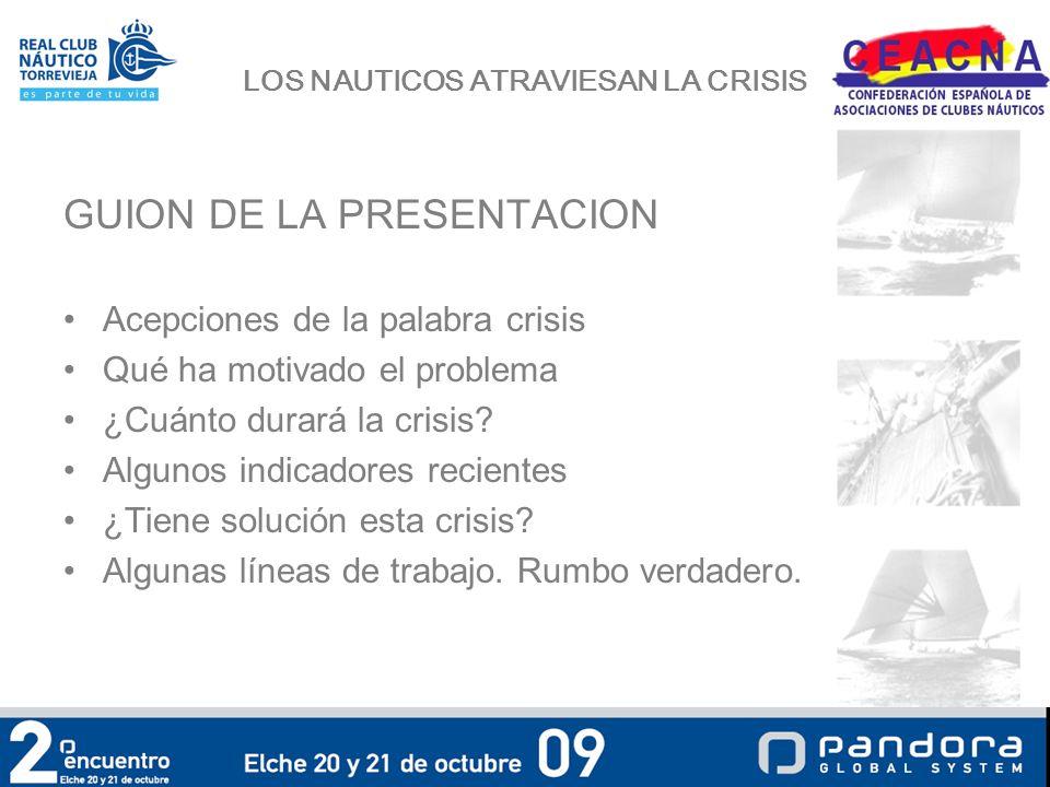 LOS NAUTICOS ATRAVIESAN LA CRISIS GUION DE LA PRESENTACION Acepciones de la palabra crisis Qué ha motivado el problema ¿Cuánto durará la crisis.