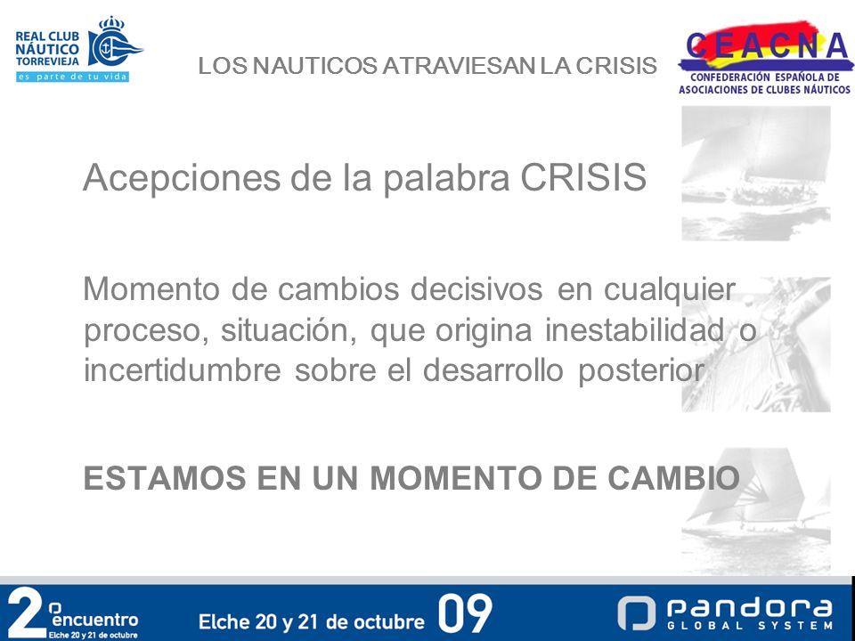 LOS NAUTICOS ATRAVIESAN LA CRISIS Qué ha motivado el problema para las IND a) La Crisis económica b) La Administración.