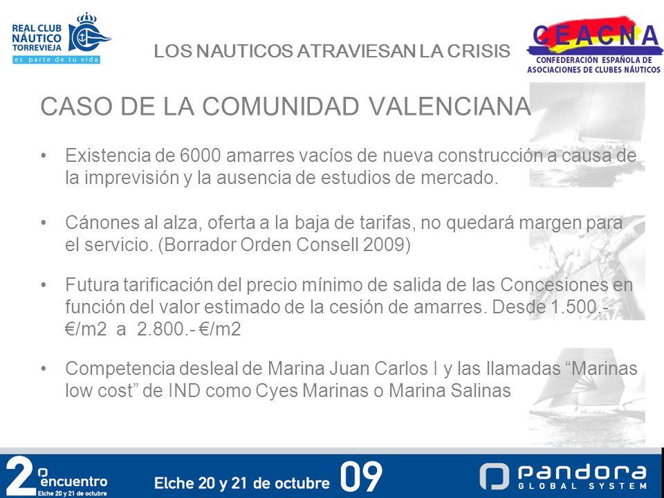 LOS NAUTICOS ATRAVIESAN LA CRISIS CASO DE LA COMUNIDAD VALENCIANA Existencia de 6000 amarres vacíos de nueva construcción a causa de la imprevisión y la ausencia de estudios de mercado.