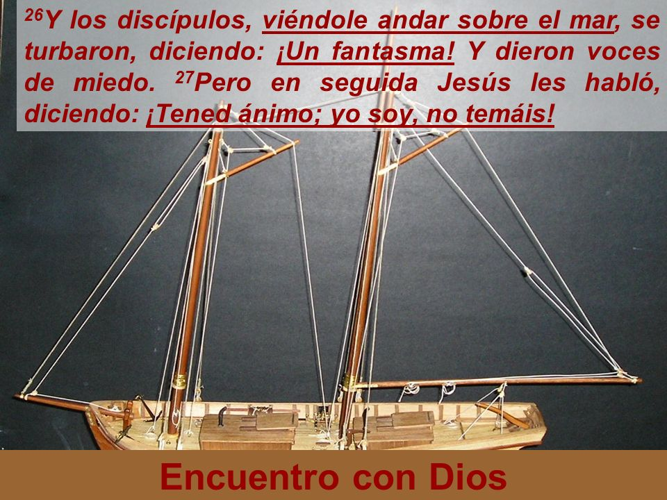 Encuentro con Dios 26 Y los discípulos, viéndole andar sobre el mar, se turbaron, diciendo: ¡Un fantasma! Y dieron voces de miedo. 27 Pero en seguida
