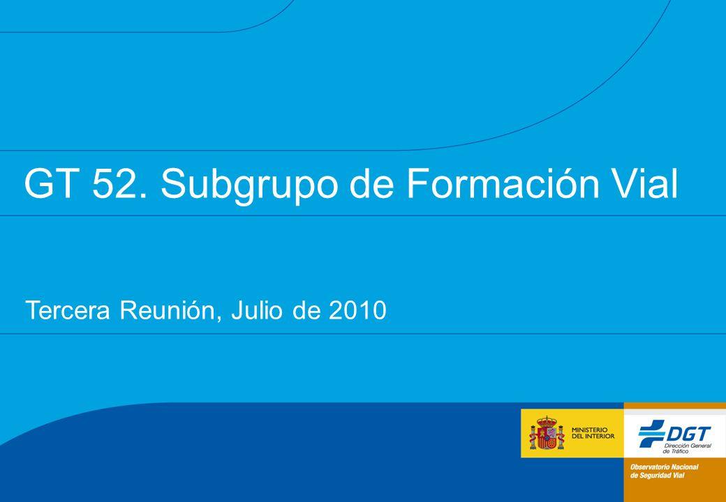 GT 52. Subgrupo de Formación Vial Tercera Reunión, Julio de 2010