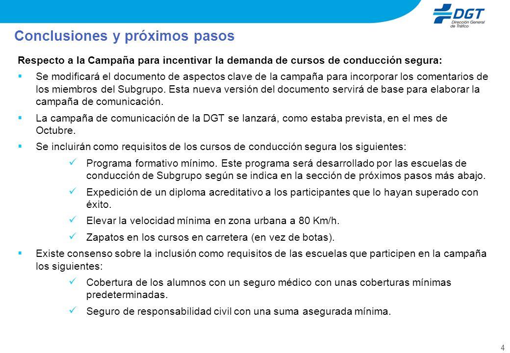 4 Respecto a la Campaña para incentivar la demanda de cursos de conducción segura: Se modificará el documento de aspectos clave de la campaña para inc