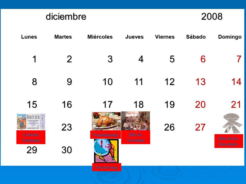 diciembre 2008 diciembre 2008 LunesMartesMiércolesJuevesViernesSábadoDomingo 1234567 891011121314 15161718192021 22232425262728 293031 Lotería Naciona