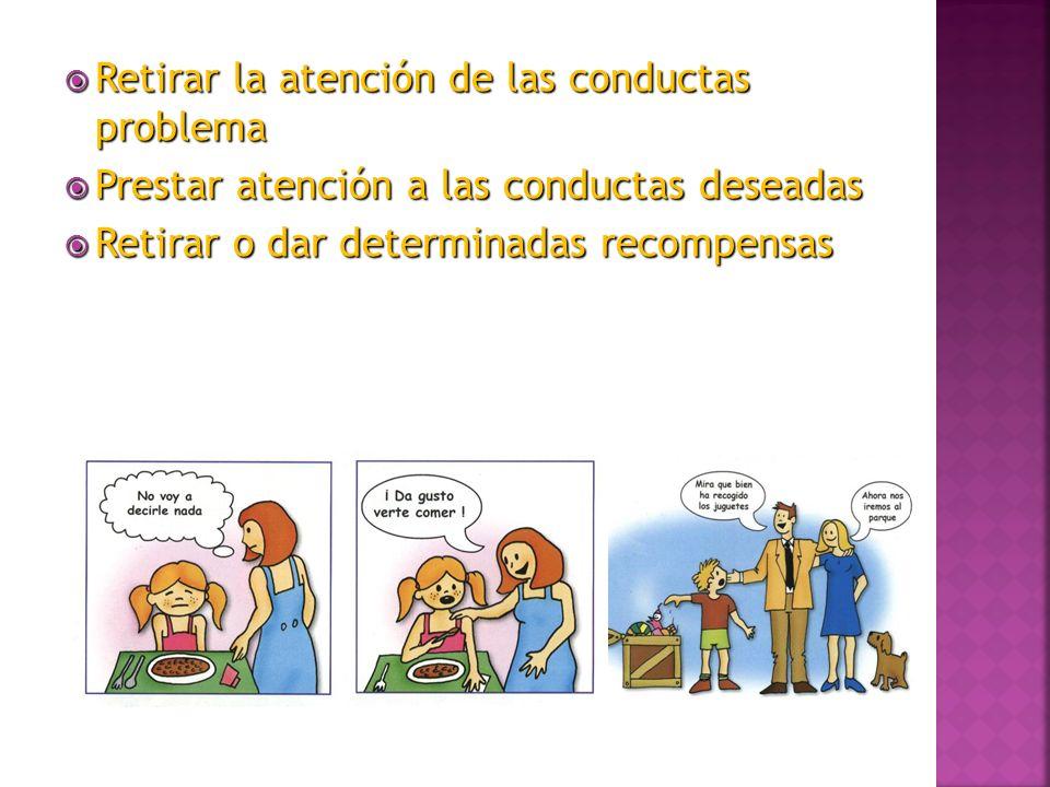 Retirar la atención de las conductas problema Retirar la atención de las conductas problema Prestar atención a las conductas deseadas Prestar atención