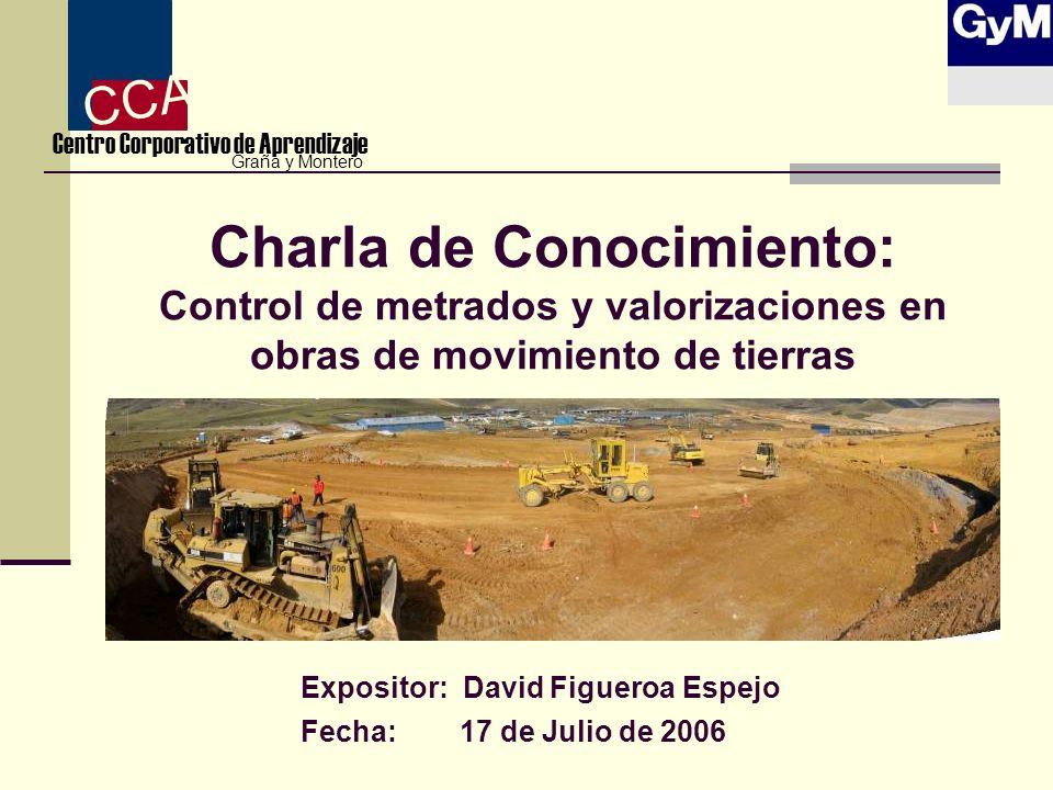 Charla de Conocimiento: Control de metrados y valorizaciones en obras de movimiento de tierras Expositor: David Figueroa Espejo Fecha: 17 de Julio de