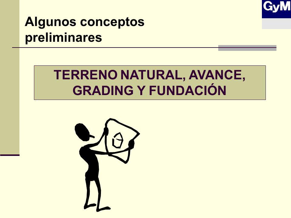 TERRENO NATURAL, AVANCE, GRADING Y FUNDACIÓN Algunos conceptos preliminares