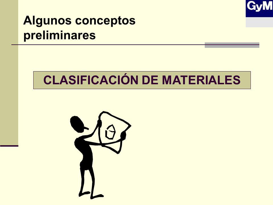 CLASIFICACIÓN DE MATERIALES Algunos conceptos preliminares