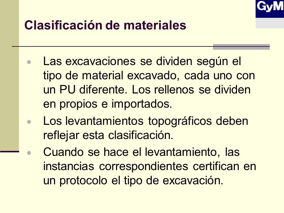 Clasificación de materiales Las excavaciones se dividen según el tipo de material excavado, cada uno con un PU diferente. Los rellenos se dividen en p