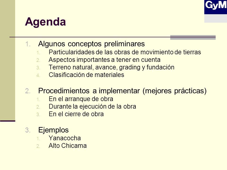 Agenda 1. Algunos conceptos preliminares 1. Particularidades de las obras de movimiento de tierras 2. Aspectos importantes a tener en cuenta 3. Terren