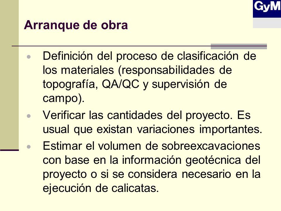 Arranque de obra Definición del proceso de clasificación de los materiales (responsabilidades de topografía, QA/QC y supervisión de campo). Verificar