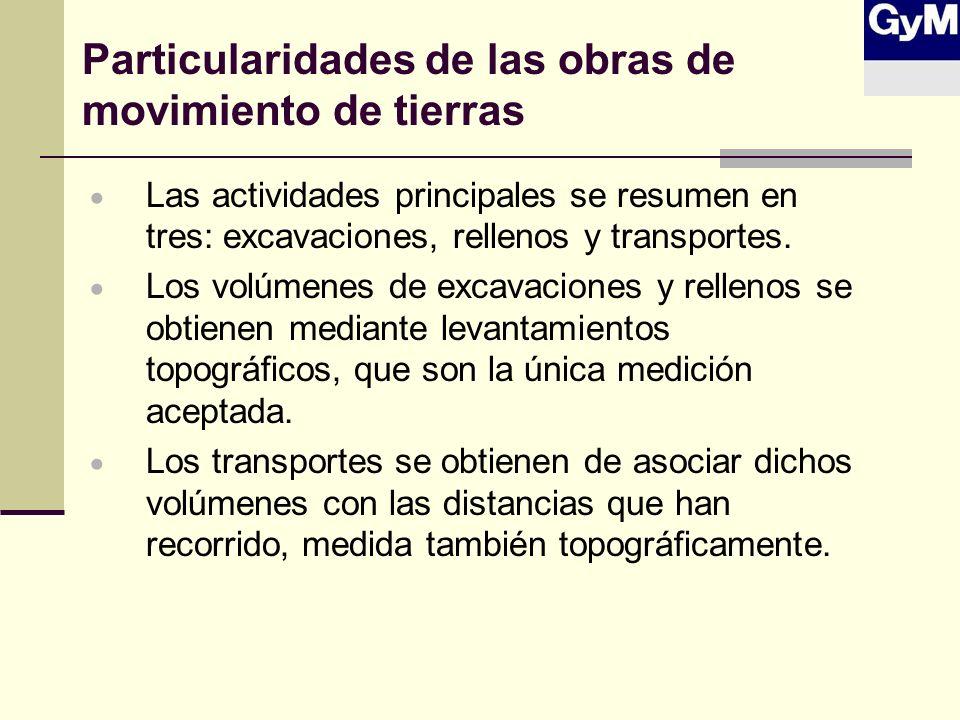 Particularidades de las obras de movimiento de tierras Las actividades principales se resumen en tres: excavaciones, rellenos y transportes. Los volúm