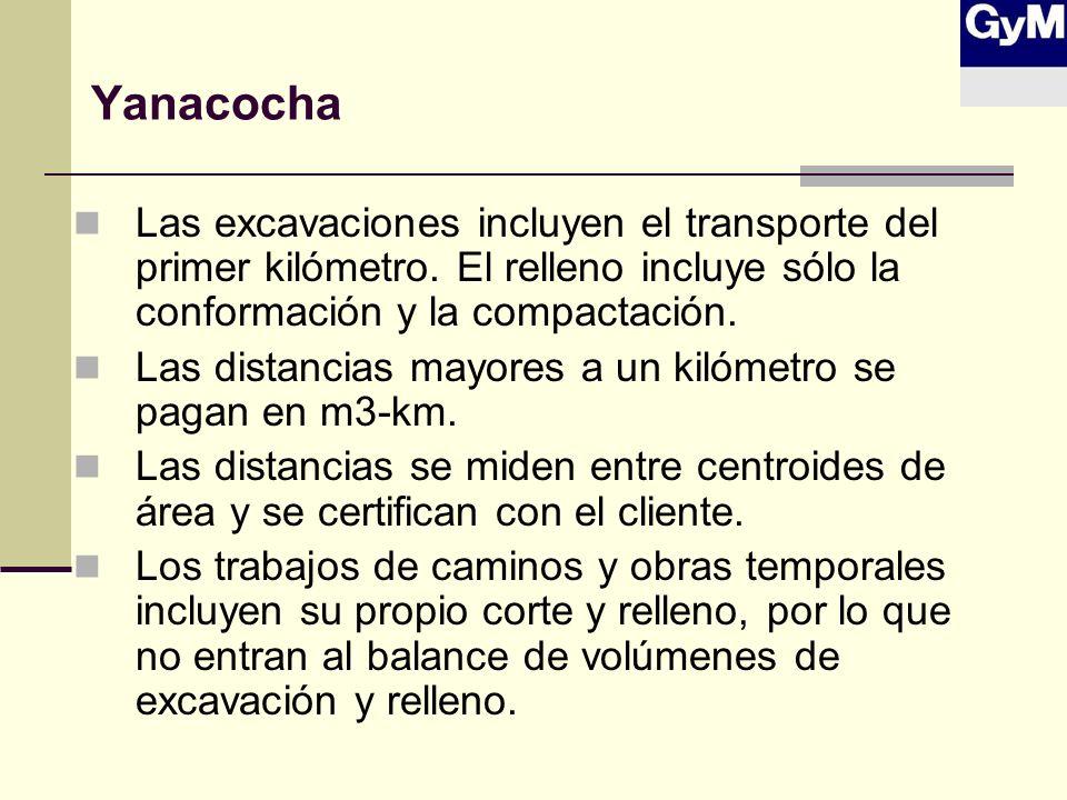 Yanacocha Las excavaciones incluyen el transporte del primer kilómetro. El relleno incluye sólo la conformación y la compactación. Las distancias mayo