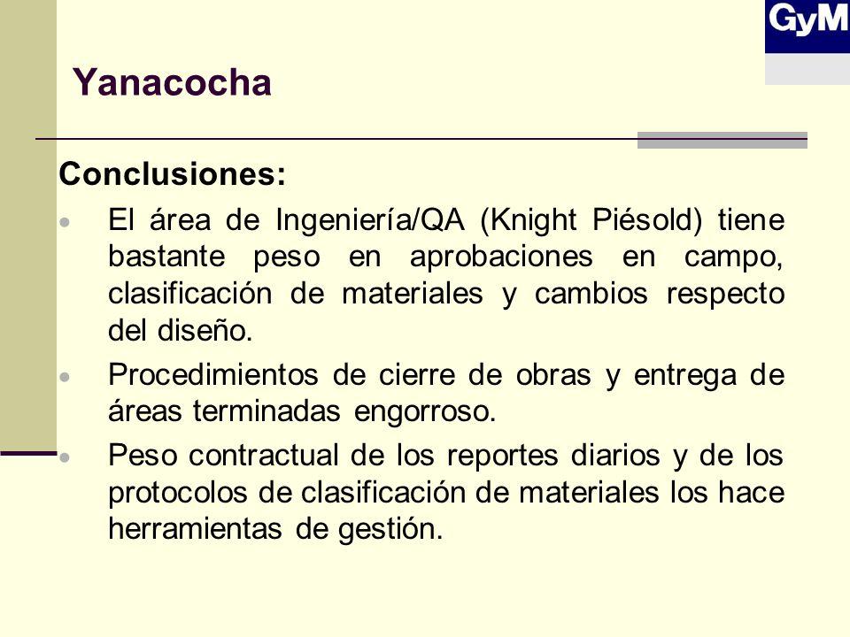 Yanacocha Conclusiones: El área de Ingeniería/QA (Knight Piésold) tiene bastante peso en aprobaciones en campo, clasificación de materiales y cambios