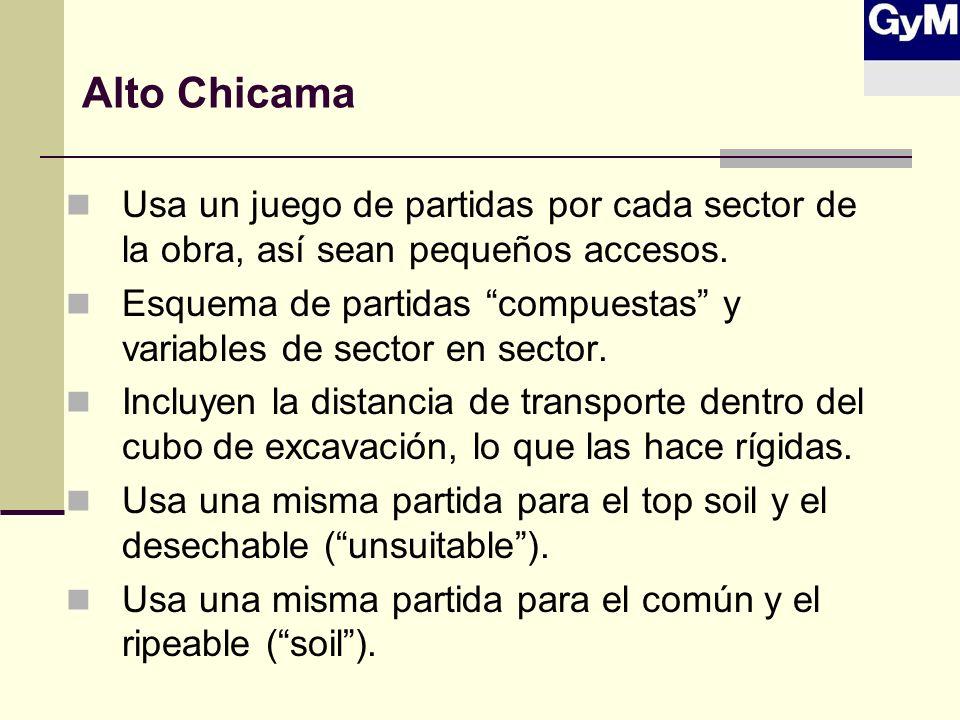 Alto Chicama Usa un juego de partidas por cada sector de la obra, así sean pequeños accesos. Esquema de partidas compuestas y variables de sector en s