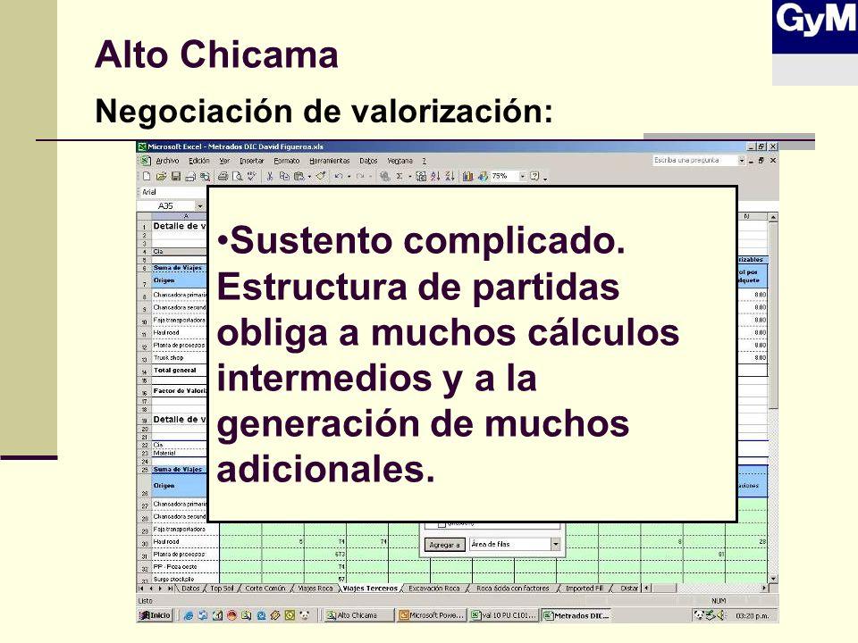 Alto Chicama Negociación de valorización: Sustento complicado. Estructura de partidas obliga a muchos cálculos intermedios y a la generación de muchos
