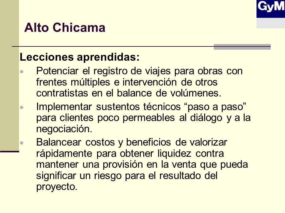 Alto Chicama Lecciones aprendidas: Potenciar el registro de viajes para obras con frentes múltiples e intervención de otros contratistas en el balance