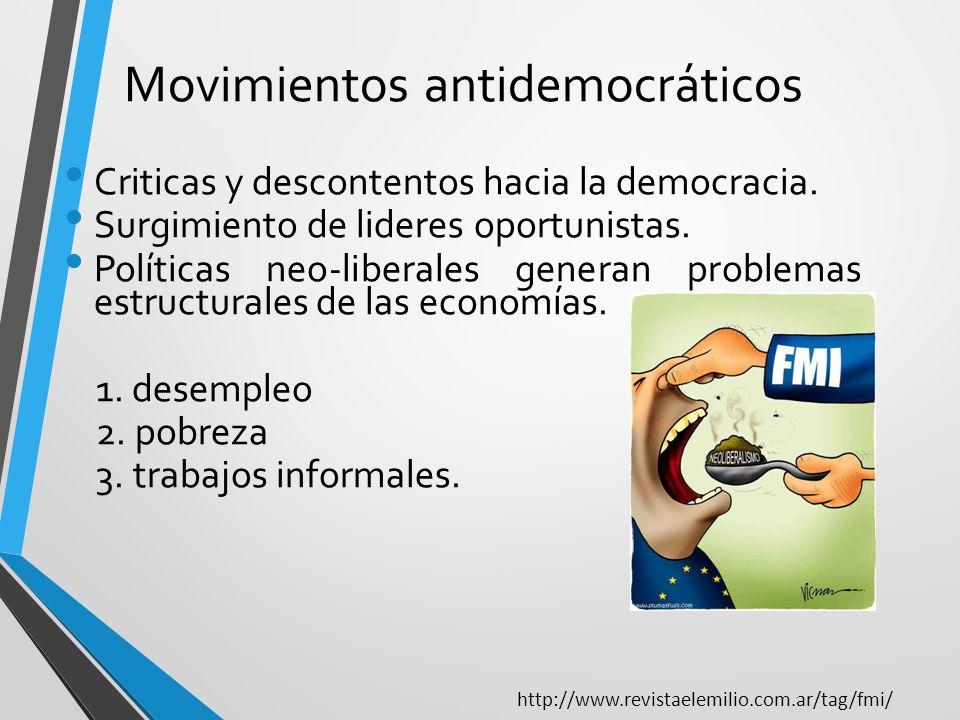 Movimientos antidemocráticos Criticas y descontentos hacia la democracia. Surgimiento de lideres oportunistas. Políticas neo-liberales generan problem