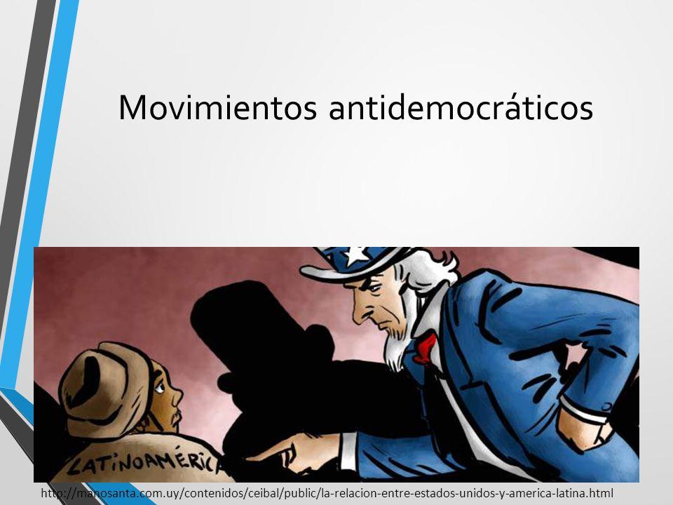 Movimientos antidemocráticos Influencia de Estados Unidos en políticas internas de los países de la región. Hugo Chávez, líder autoritario en 1998. ht