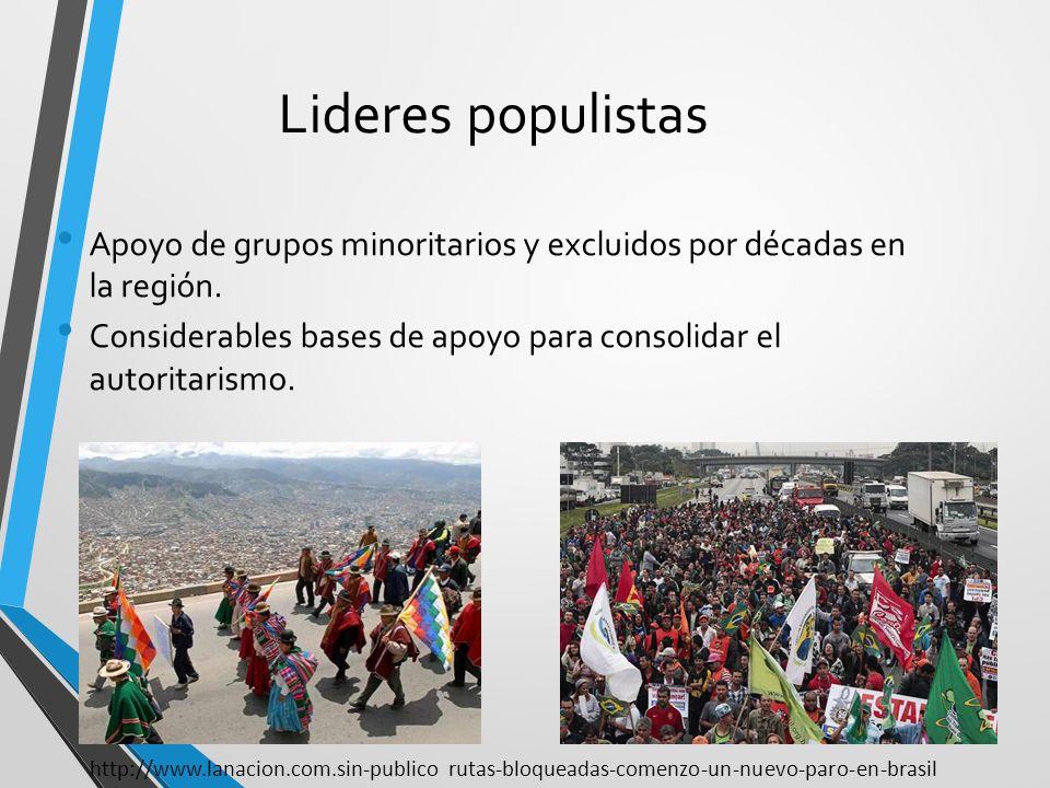 Lideres populistas Apoyo de grupos minoritarios y excluidos por décadas en la región. Considerables bases de apoyo para consolidar el autoritarismo. h