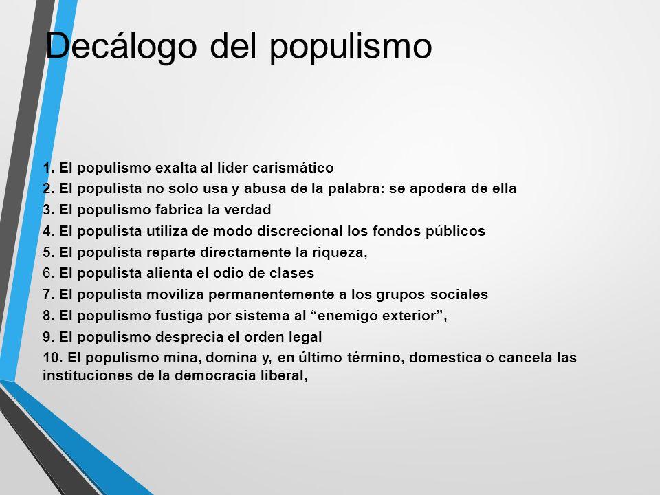 1. El populismo exalta al líder carismático 2. El populista no solo usa y abusa de la palabra: se apodera de ella 3. El populismo fabrica la verdad 4.