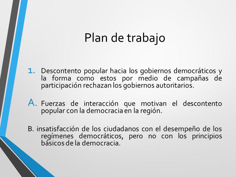 Plan de trabajo 1. Descontento popular hacia los gobiernos democráticos y la forma como estos por medio de campañas de participación rechazan los gobi