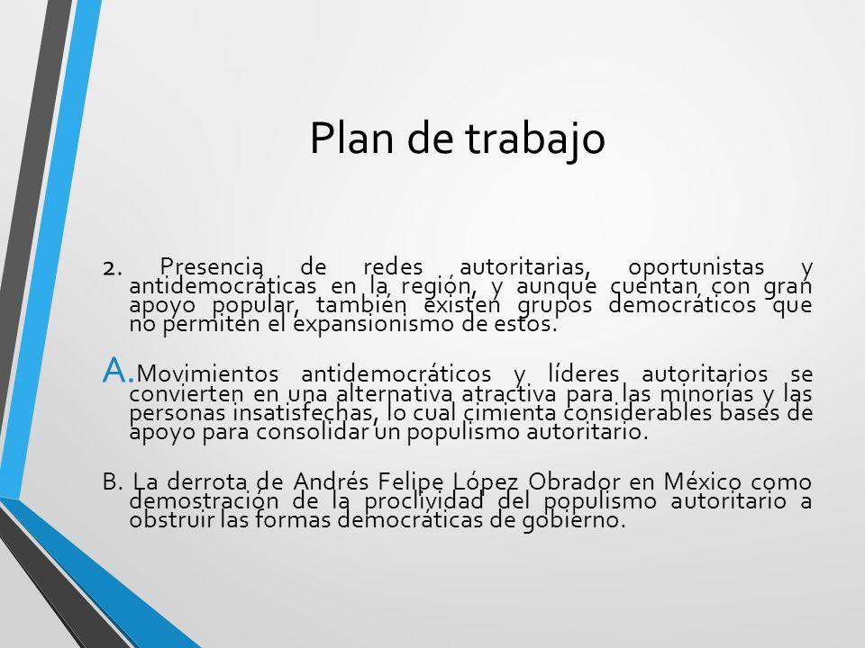 Plan de trabajo 2. Presencia de redes autoritarias, oportunistas y antidemocráticas en la región, y aunque cuentan con gran apoyo popular, también exi