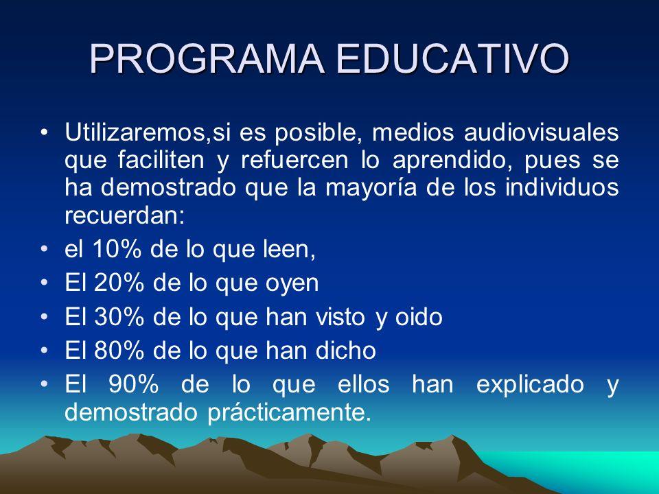 PROGRAMA EDUCATIVO Utilizaremos,si es posible, medios audiovisuales que faciliten y refuercen lo aprendido, pues se ha demostrado que la mayoría de lo