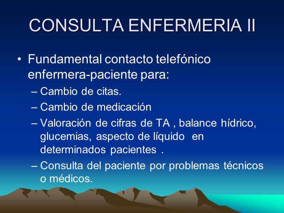 CONSULTA ENFERMERIA II Fundamental contacto telefónico enfermera-paciente para: –Cambio de citas. –Cambio de medicación –Valoración de cifras de TA, b
