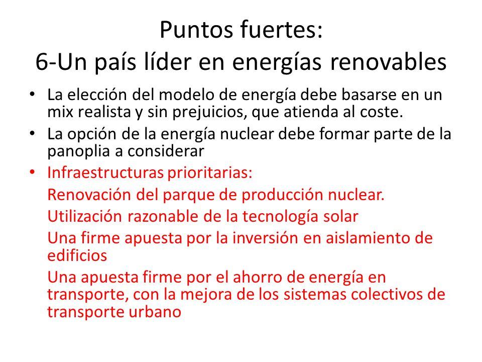 Puntos fuertes: 6-Un país líder en energías renovables La elección del modelo de energía debe basarse en un mix realista y sin prejuicios, que atienda