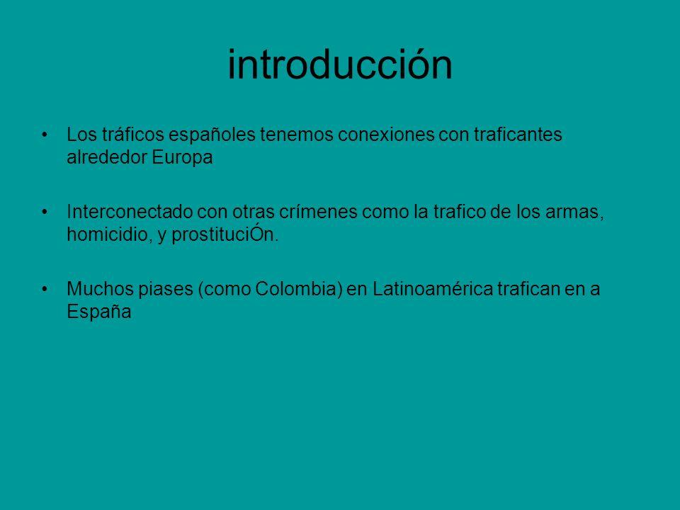 introducción Los tráficos españoles tenemos conexiones con traficantes alrededor Europa Interconectado con otras crímenes como la trafico de los armas