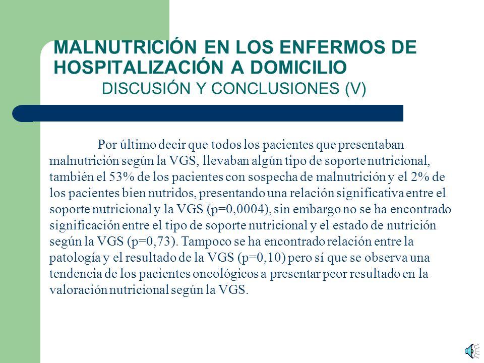 MALNUTRICIÓN EN LOS ENFERMOS DE HOSPITALIZACIÓN A DOMICILIO DISCUSIÓN Y CONCLUSIONES (IV) No hay asociación entre el tipo de patología que presentan los pacientes y el hecho de que estuviesen recibiendo tratamiento nutricional (p=0,92).