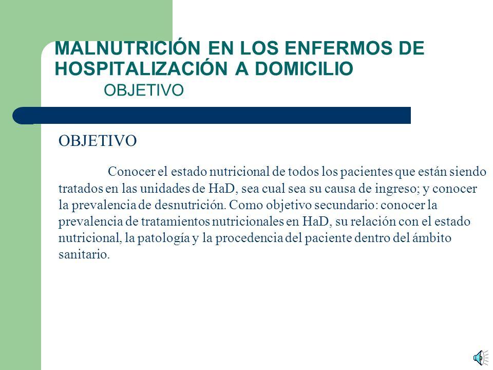 MALNUTRICIÓN EN LOS ENFERMOS DE HOSPITALIZACIÓN A DOMICILIO INTRODUCCIÓN (II) En España aparece en Madrid en el Hospital Provincial en 1981 La primera referencia oficial como Unidades de Hospitalización a Domicilio se realiza en el Reglamento General de Estructura, Organización y Funcionamiento de los Hospitales de la Seguridad Social de 1985, y también se mencionarán en la Ley de Sanidad donde se citan como unidades dependientes de de la Asistencia Especializada.