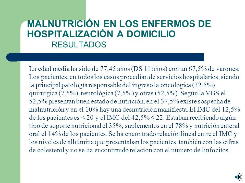 MALNUTRICIÓN EN LOS ENFERMOS DE HOSPITALIZACIÓN A DOMICILIO MATERIAL Y MÉTODO Estudio multicéntrico, transversal, realizado del 26 al 30 de abril del 2004.