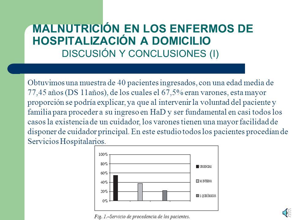 MALNUTRICIÓN EN LOS ENFERMOS DE HOSPITALIZACIÓN A DOMICILIO RESULTADOS La edad media ha sido de 77,45 años (DS 11 años) con un 67,5% de varones. Los p