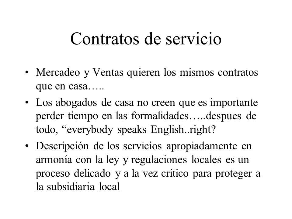 Contratos de servicio Mercadeo y Ventas quieren los mismos contratos que en casa…..