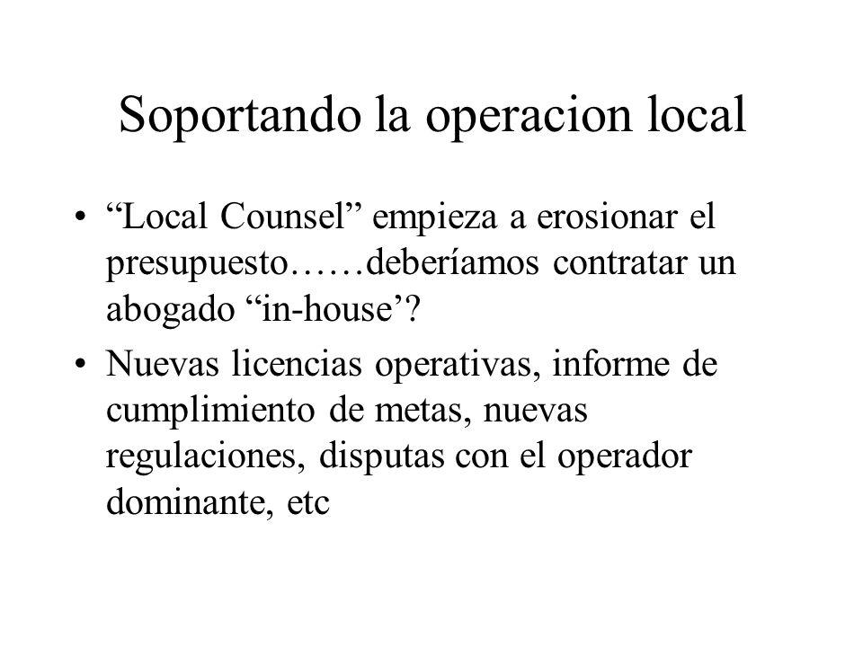 Soportando la operacion local Local Counsel empieza a erosionar el presupuesto……deberíamos contratar un abogado in-house.