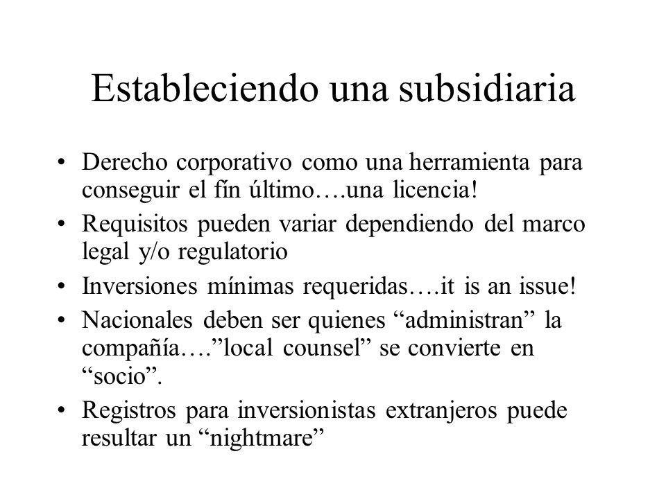 Estableciendo una subsidiaria Derecho corporativo como una herramienta para conseguir el fín último….una licencia.